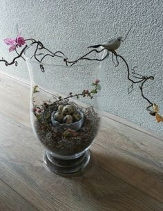 Windlicht met decoratie voorjaar