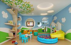 20 Fantastic Kids Playroom Design Ideas – My Life Spot Daycare Design, Playroom Design, Kids Room Design, Wall Design, Baby Playroom, Baby Room, Playroom Ideas, Children Playroom, Kindergarten Interior