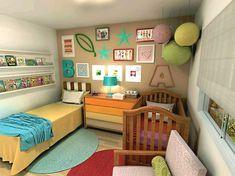 10 ideias de quarto de bebê compartilhado com irmãos Toddler Rooms, Toddler Bed, Shared Rooms, Home And Deco, New Room, Kids Bedroom, Room Inspiration, Baby Room, Decoration