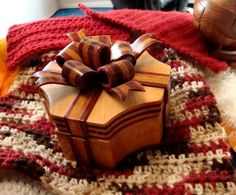 Handmade Exotic Wood Bow Box OOAK/Coupon by zzbob on Etsy