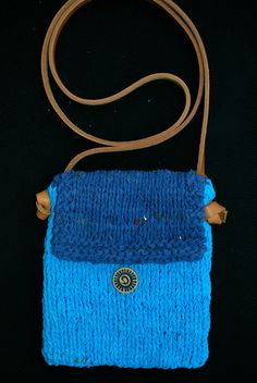 hand knit with recycled t-shirt yarn