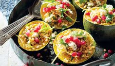Moroccan-style stuffed gem squashes Barley makes this a substantial and filling dish. Banting Recipes, Vegan Recipes Easy, Veggie Recipes, New Recipes, Vegetarian Recipes, Veggie Meals, Healthy Meals, Delicious Recipes, Healthy Food