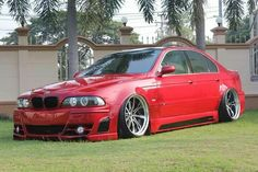 BMW E46 3 series red slammed