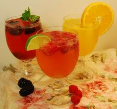 Fruity Champagne Cocktails (Raspberry, Blackberry and Orange)