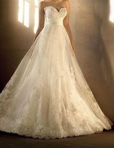 High Waist Lace Tulle Wedding Dress Bridal Gown Custom Size 4 6 8 10 12 14 16 18