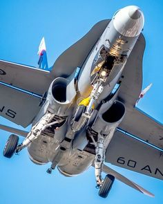 Hornet, with rounded air intakes. The slightly bigger Super Hornet has rectangular ones. Military Jets, Military Weapons, Military Aircraft, Navy Aircraft, Aircraft Photos, Plane Photos, Air Fighter, Fighter Jets, Photo Avion