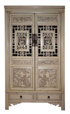 2 Door 2 Drawer Hand Carved Cabinet