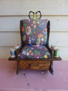 Vintage Rocking Chair Pincushion & Storage