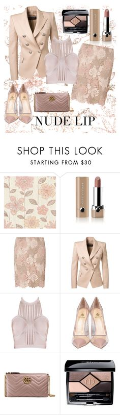 """""""Nude lip"""" by laurabosch ❤ liked on Polyvore featuring Kismet, Marc Jacobs, Dorothy Perkins, Balmain, Semilla, Gucci, Christian Dior and nudelip"""