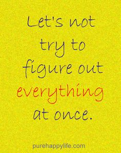 #life #quotes purehappylife.com - Let's not try to figure out everything at once.