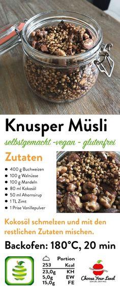 Buchweizen Knusper Müsli Rezept zum Müsli selber machen - schnell in 20 min zubereitet - einfach, vegan, glutenfrei, gesundes müsli ohne aufwand selber machen, knusper müsli, buchweizen backen, buchweizen rezepte