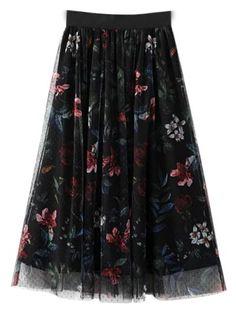#Zaful - #Zaful Floral Layered Tulle Skirt - AdoreWe.com