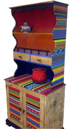 Aztec Print Hand painted Hutch by LindseyShevkun on Etsy