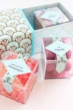 The prettiest candy, Sugarfina, sold in Spreckels! Dessert Packaging, Cookie Packaging, Tea Packaging, Food Packaging Design, Packaging Ideas, Sugar Candy, Pink Candy, Jelly Gummies, Candy Brands