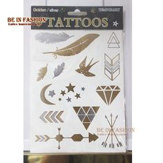 body art painting stickers glitter Metal gold silver temporary flash tattoo feather bird arrow indians tatoo tatuajes metalicos,,Oh Yes I Need Me Some Flash TATS !
