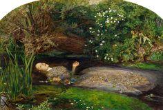 "Sir John Everet Millais, ""Ophelia,"" 1852. Oil on canvas, 30"" x 44"". Tate Britain."