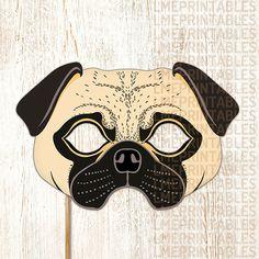 Pug Dog Mask Printable Fawn Carlin Mops Dutch by LMEprintables