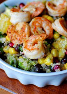Shrimp Superfood Salad with Lemon Vinaigrette! Great recipe the shrimp is amazing also! | iowa girl eats