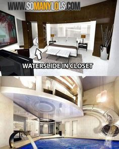 Waterslide in closet