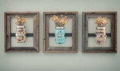 This rustic mason jar wall frame is so chic and can be used to creatively organize or display anything in your home! Use them to display fresh cut flowers or herbs, candles, pens or kitchen utensils, Q-tips or cottonballs. A rustic wood frame holds a painted mason jar and is sure to add character & style to any space! The colors in the wood vary. If you have a preference, please let us know.  Each 8 x 10 wall mounted display is unique and made from a reclaimed wood open wood frame. No two…