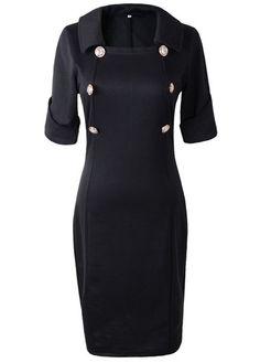 Button Decorated Black Dress