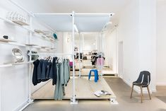 Scaffolding forms clothes racks in NO WODKA pop up store in Berlin