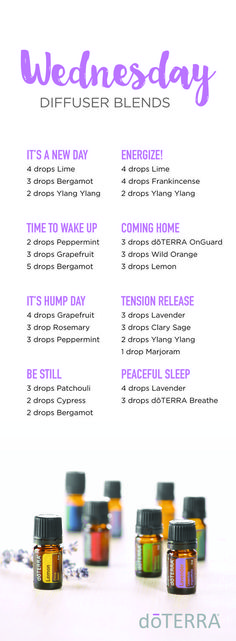 Hump Day Diffuser Blends. Try a new diffuser blend to boost you through Wednesday! #doterra #essentialoils #diffuserblends #humpday #wednesday