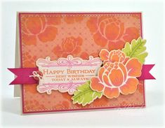 Birthday Posies Card by Debbie Olson for Papertrey Ink (March 2013)