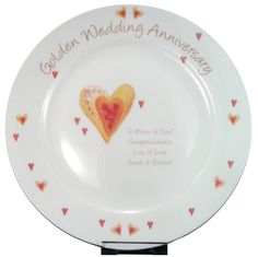 Personalized Golden Anniversary Plate - a great gift for a couple celebrating 50 years Golden Wedding