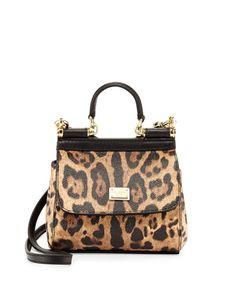 8374d3475b Dolce   Gabbana Miss Sicily Mini Leopard-Print Crossbody Bag