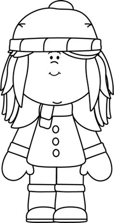 Black And White Winter Girl Clip Art