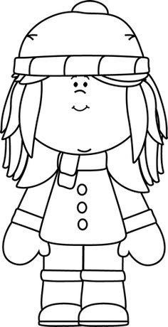 Black and White Winter Girl Clip Art - Black and White Winter Girl Image