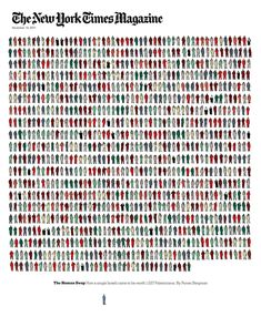 Arem Duplessis comes as a reference for any magazine designer around the globe. His work for The New York Times Magazine is always surprising and inspiring.. I particularly like his way of visualizing 'The Human Swap: How a single Israeli came to be worth 1,027 Palestinians'