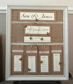 Handmade Wedding Table Plan Vintage Style Personalised