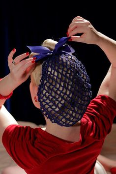 Vintage Retro Pinup Hair Snood in Royal Blue by ArtheliasAttic