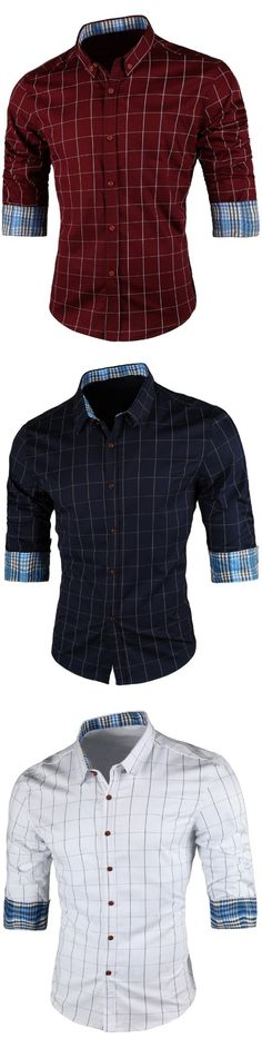 Casual Grid Pattern Long Sleeve Shirt