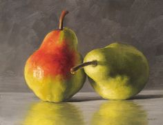 Reflecting Pears - Michael Naples. Oil on canvas