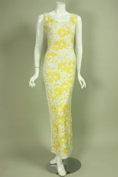 1950's White & Yellow Floral Sequined Gown | From a collection of rare vintage evening dresses at https://www.1stdibs.com/fashion/clothing/evening-dresses/