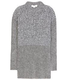Stella McCartney - Wool and mohair-blend sweater - Stella McCartney makes layering a breeze this season with this elongated sweater. Knitted from a virgin wool blend, they all-grey design features a wool and mohair-blend knit at the bottom for contrasting fuzzy texture. The slits up the sides make it ideal for wearing over slim denim during the colder months. seen @ www.mytheresa.com