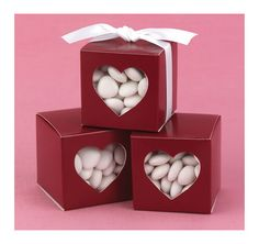 Red Heart-Shaped Window Favor Boxes