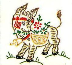 $4.12   Vintage Hand Embroidery Pattern 133 Mexican Fiesta Burro Cactus Motifs 1950s   eBay