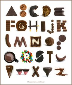 chocolate alphabet - I can smell it from here. Chocolate Typography, Food Typography, Typography Alphabet, Food Alphabet, Alphabet Crafts, Alphabet Book, Types Of Lettering, Hand Lettering, Chocolate Letters