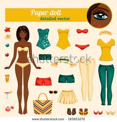 Cute dress up paper doll. Body template, outfit and accessories. Vector detailed illustration. African American ethic. Brunette with long hair. Cut and play. Yellow, red and turquoise colors.