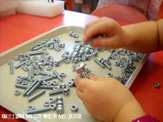 Matching nuts and bolts - seems very montessori-like. great for fine motor skills and learning smaller/larger Activities For Boys, Motor Skills Activities, Montessori Activities, Gross Motor Skills, Preschool Activities, Preschool Art, Practical Life, Trouble, Finesse