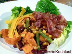 Meine Kochlust: Süßkartoffelsalat mit Tomaten-Chili-Dressing sweet potato,greenbean,corn,black bean, bacon salad by meinekochlunt.blogspot.com