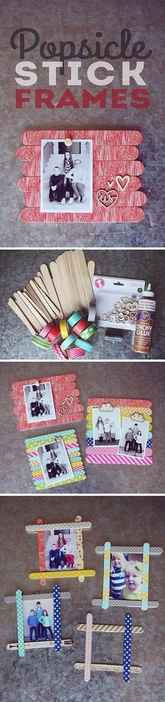 Popsicle Stick Frames. The cutest project... just takes popsicle sticks and washi tape!
