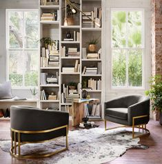 Home Interior Inspiration Get the Look: create a home library in a cozy corner with a couple club chairs, bold lighting and a few accents Decor, Home Library, House Inspiration, Home Office Design, Interior, House, Home Decor, House Interior, Apartment Decor