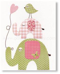 Elephant nursery Children art Nursery art prints - baby nursery decor - nursery…