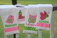 Personalized Baby Girl Set 4 piece set bib and burp by SixIsEnough, $26.00