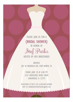 Marsala Polka Dot and White Dress Bridal Shower Invitation #BridalShower